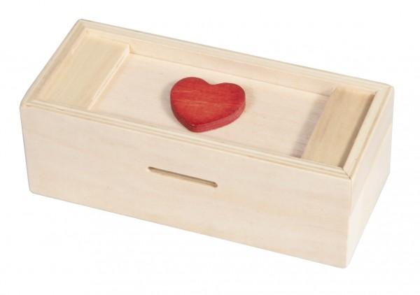 Trickbox Geldgeschenkbox natur / rotes Herz
