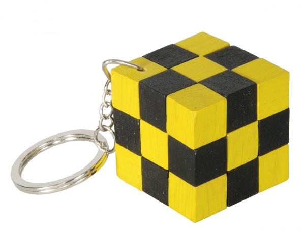 Schlüsselanhänger Schlangenwürfel schwarz/gelb
