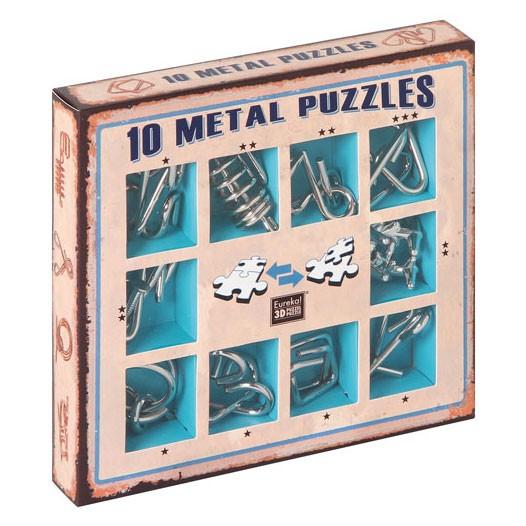 """10 Metallpuzzle im Set """"blau"""""""