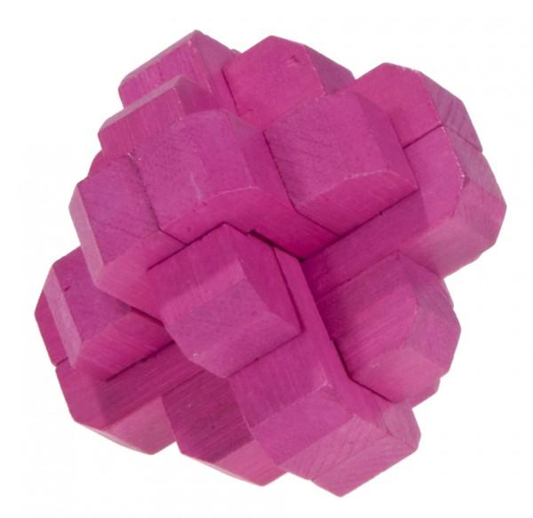 """Farbiges Bambuspuzzle """"Runder Knoten"""" magenta"""