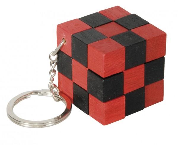 Schlüsselanhänger Schlangenwürfel schwarz/rot
