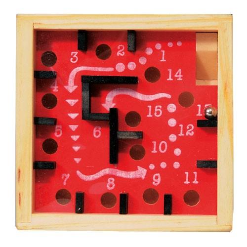 Labyrinth Gesellschaftsspiel aus Holz rot/schwarz/natur