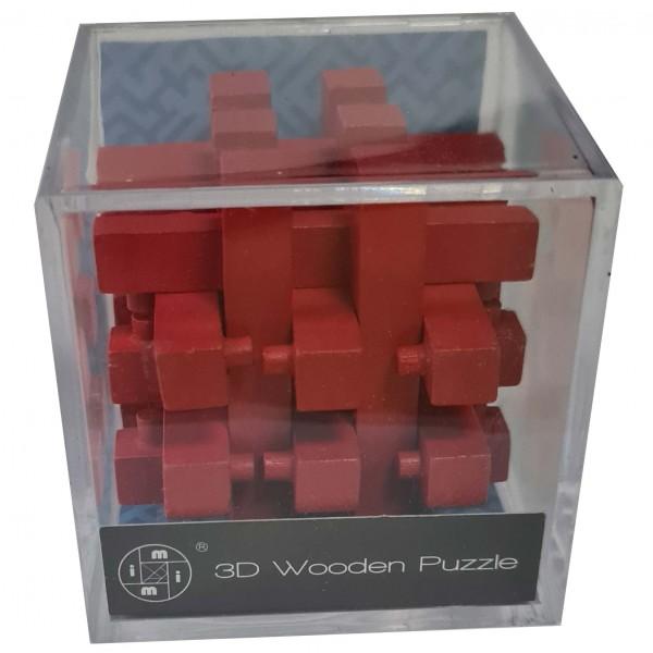 3D Wooden Puzzle im Plexiglaswürfel: Rot 2