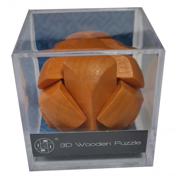 3D Wooden Puzzle im Plexiglaswürfel: Orange