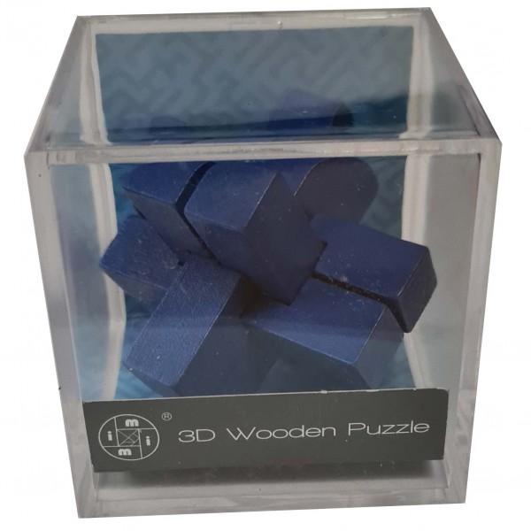 3D Wooden Puzzle im Plexiglaswürfel: Blau