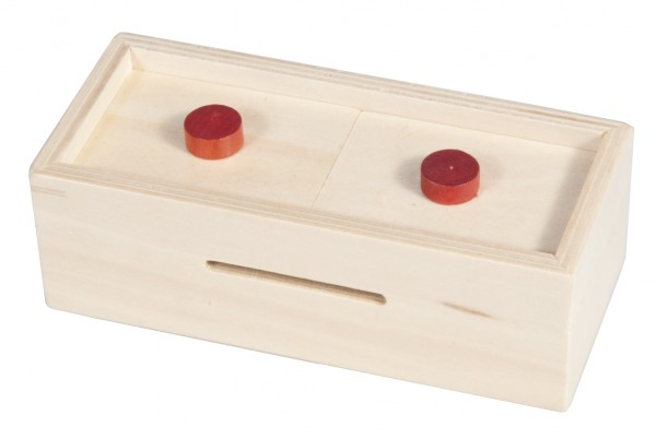 Trickbox Geldgeschenkbox natur / rote Knöpfe