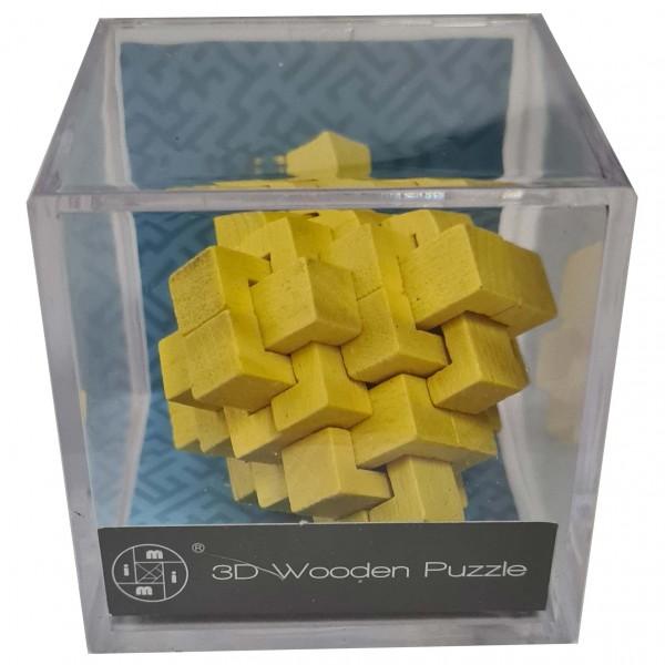3D Wooden Puzzle im Plexiglaswürfel: Gelb