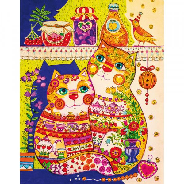DaVici Puzzle - Katzen im Kämmerchen