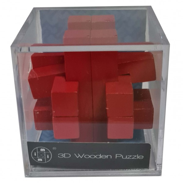 3D Wooden Puzzle im Plexiglaswürfel: Rot 1