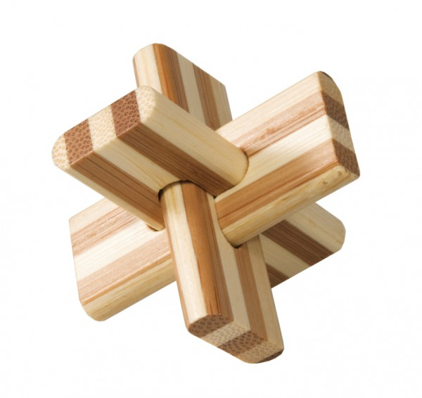 "Bambus-Puzzle in der Dose ""Kreuz"""