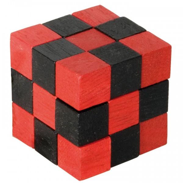 Holz-Schlangenwürfel rot/schwarz