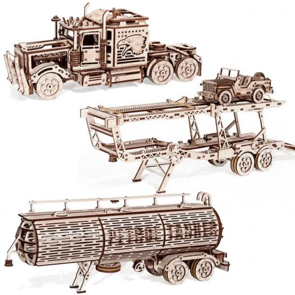 Wood Trick Sparpaket: Big Rig + Car Trailer + Tank Trailer