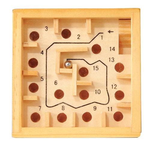 Labyrinth Gesellschaftsspiel aus Holz natur