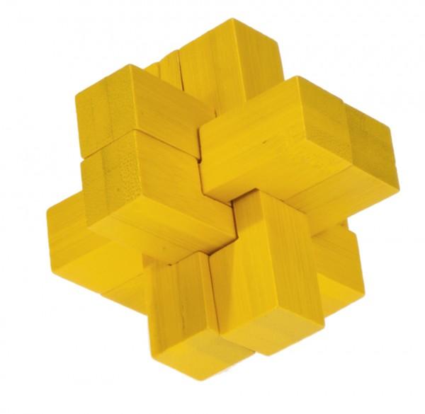 "Farbiges Bambuspuzzle ""Block Kreuz"" gelb"