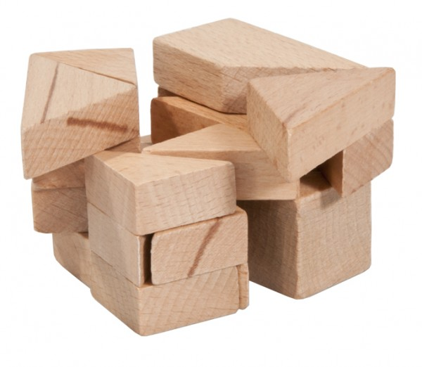 "Holzpuzzle in Plexiglaswürfel ""3D Tangram"""