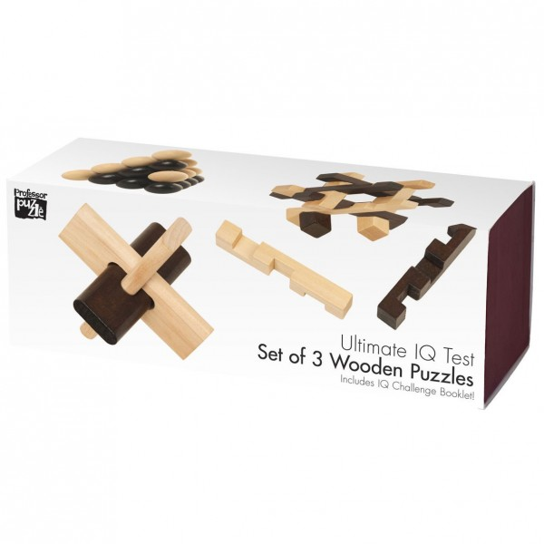 Ultimate IQ Test - Set of 3 Wooden Puzzle